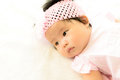 Asian baby girl viewed from above Royalty Free Stock Image