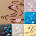 Asian backgrounds with oriental waves and lotuses Stock Image