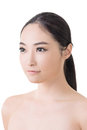 Asian beauty face closeup portrait with clean and fresh elegant lady studio shot Royalty Free Stock Images