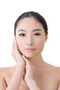 Asian beauty face closeup portrait with clean and fresh elegant lady studio shot Royalty Free Stock Image