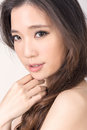 Asian beauty face closeup portrait with clean and fresh elegant lady studio shot Royalty Free Stock Photos
