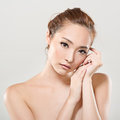 Asian beauty face portrait closeup with clean and fresh elegant lady studio shot Stock Photography