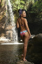 Asian Beauty At Jungle Waterfall Stock Photography