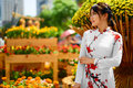 Asian Beauty Woman Wearing National Traditional Clothing, Vietna Royalty Free Stock Photo