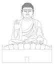 Asian Big Buddha Black and White Line Art
