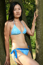 Asian Bikini Model Posing Outdoors Royalty Free Stock Photos