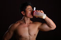 Asian Body Builder Drinking a Protein Shake Stock Image