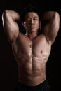 Asian Body Builder Posing flexing Royalty Free Stock Images