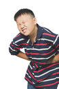 Asian boy with an abdominal pain young Stock Photography