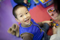 Asian boy enjoying the preschool class Stock Image