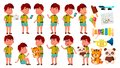 Asian Boy Kindergarten Kid Poses Set Vector. Active, Joy Preschooler Playing. For Presentation, Print, Invitation Design