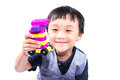Asian boy playing lego isolate on white Royalty Free Stock Photo