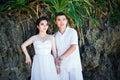 Asian bride and groom on a tropical beach wedding and honeymoo honeymoon concept Stock Image