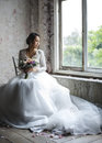 Asian Bride Holding Flower Bouquet Wedding Engagement Ceremony Royalty Free Stock Photo
