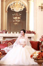 Asian bride in the wedding dress Stock Photography