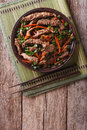 Asian Bulgogi beef slices fried with sesame on a plate. vertical Royalty Free Stock Photo