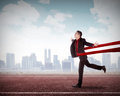 Asian business man in a finishing line Royalty Free Stock Photo