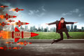 Asian business man jump from tax rocket Royalty Free Stock Photo