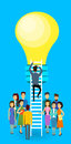 Asian Business People Group Businessman Climb Up Ladder Stairs To Light Bulb New Idea Concept Royalty Free Stock Photo