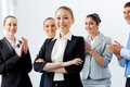 Asian business woman with colleagues young businesswoman smiling applauding joyfully at background Stock Photo