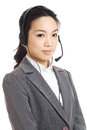 Asian business woman customer service isolated on white Stock Images