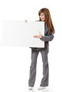 Asian business woman holding a blank board Royalty Free Stock Photo