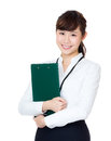 Asian business woman holding clipboard isolated on white Stock Photo