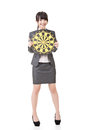 Asian business woman holding target board pretty full lnegth portrait isolated on the white background Stock Photo