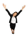 Asian business woman with open arms bird s view of formal cheering Royalty Free Stock Photos