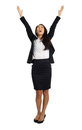 Asian business woman with open arms formal cheering Royalty Free Stock Photography