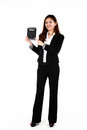 Asian business woman portrait of young with a big calculator on white background Royalty Free Stock Photo
