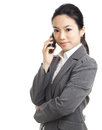 Asian business woman using mobile phone isolated on white background Royalty Free Stock Photography