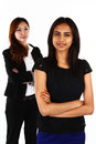 Asian business women two happy young standing together on a white background Stock Photo