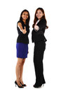 Asian business women two happy young with thumbs up on a white background Royalty Free Stock Photos