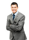 Asian businessman arms folded smiling happy young Stock Photography