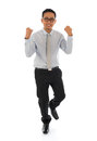 Asian businessman celebrating success full body portrait of excited isolated over white background Stock Images