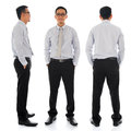 Asian businessman in different angle full body young front side and rear view standing isolated on white background Royalty Free Stock Photo