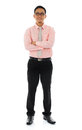 Asian businessman full body young smiling front view standing isolated on white background Stock Photography