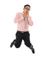 Asian businessman get shock full body young hands covering mouth and jumping up isolated on white background Royalty Free Stock Photography