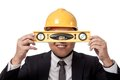 Asian businessman hold a spirit level in front of Royalty Free Stock Photo