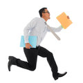 Asian businessman in hurry running full body young or jumping up with some file and documents his hand isolated on white Stock Images