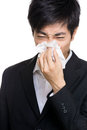 image photo : Asian businessman sneezes portrait