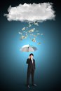 Asian businessman umbrella dollar falling cloud business concept Royalty Free Stock Image