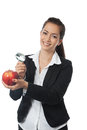 Asian Businesswoman with apple Royalty Free Stock Image