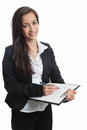Asian Businesswoman with checklist Royalty Free Stock Image