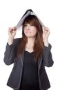 Asian businesswoman put a folder on her head isloated white background Stock Image