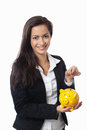 Asian Businesswoman putting money Royalty Free Stock Image