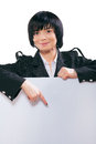 Asian businesswoman showing white board Stock Image