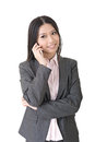 Asian businesswoman speaking on the cell phone young a portrait isolated white background Stock Photo