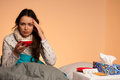 Asian caucasian woman having a head ache - girl with pain in hea Royalty Free Stock Photo
